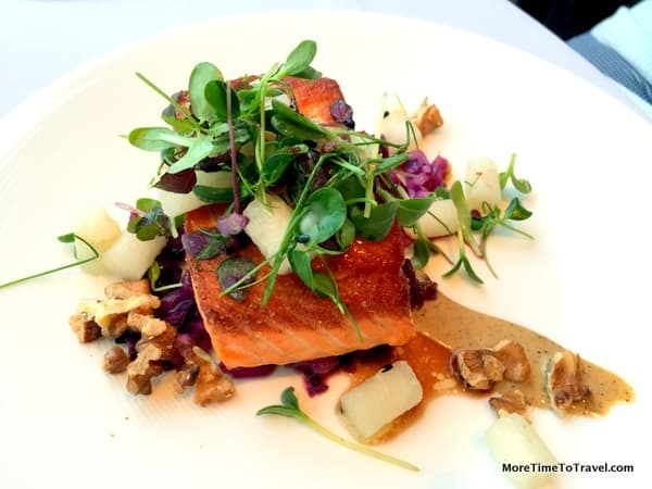 Wild Salmon with red cabbage, spiced walnuts and beurre rouge