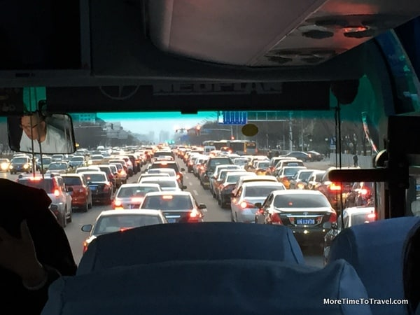 View of traffic in Beijing from our tour bus