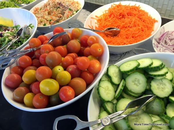 Fresh ingredients for salads at Centurion Lounge at MIA