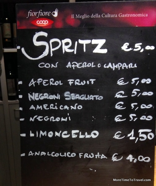 Spritz menu in Bologna