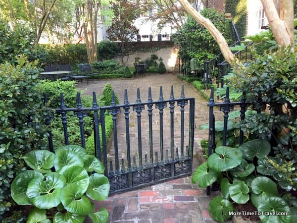 Picturesque garden gate at home on a nearby street