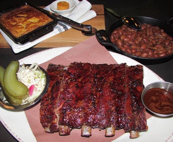 Carbon Bar ribs, cornbread and beans