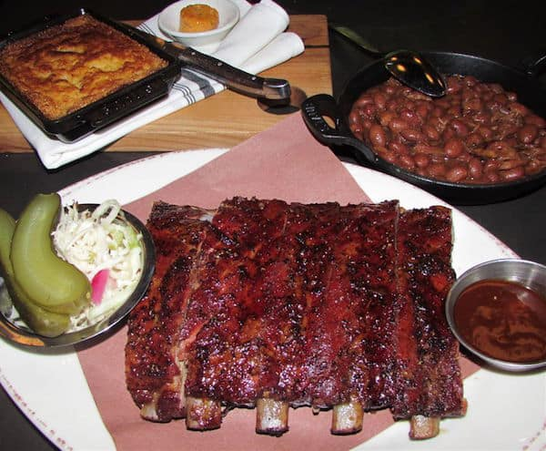 Carbon Bar ribs, cornbread and beans