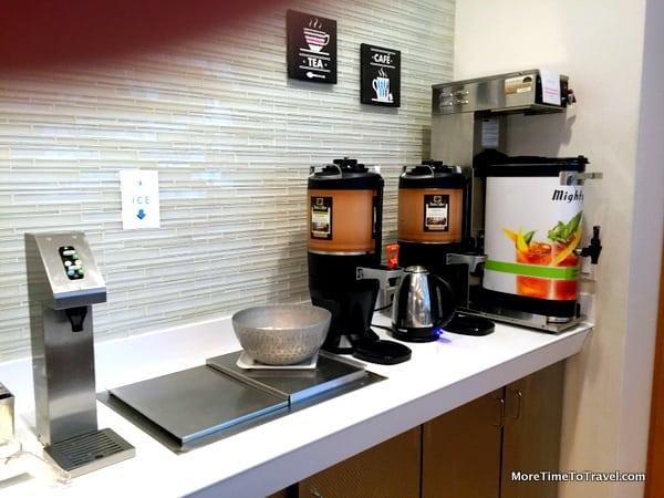 Self-service coffee bar at Airspace Lounge with Peet's Coffee