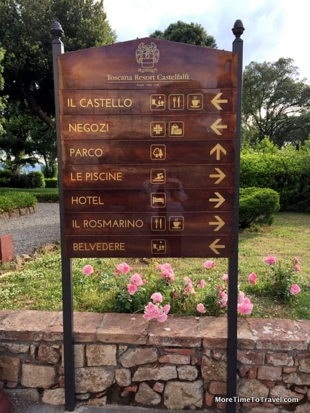 Directional sign at Toscana Resort Castelfalfi