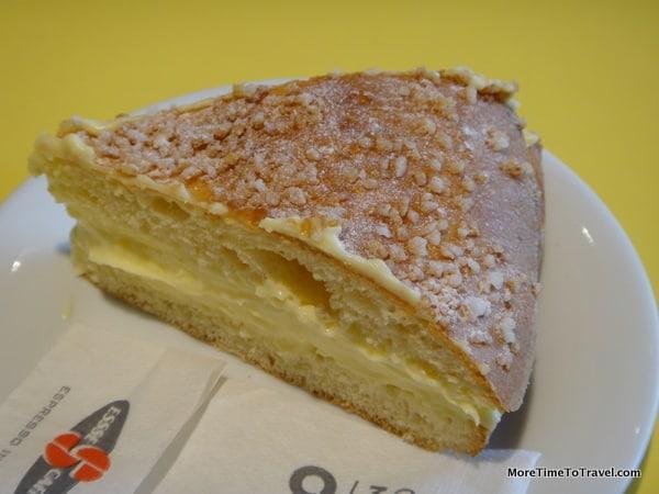 Tarte Tropezienne (the iconic dessert of St. Tropez) at Essie Caffe