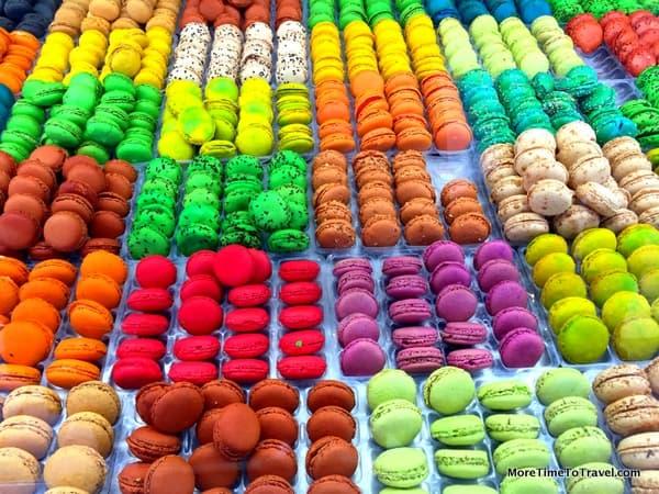Colorful macarons at the Marche des Quai in Bordeaux