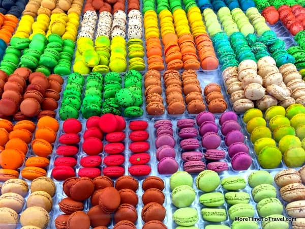 Colorful macarons at the Marche des Quai in Bordeaux