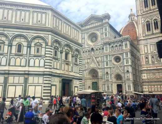 Crowds in Florence near the Duomo on a hot, humid day