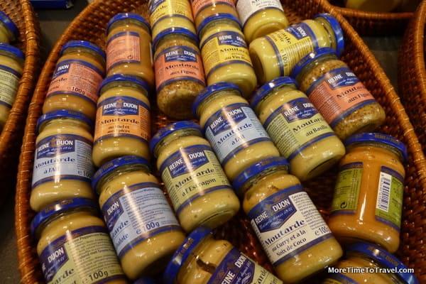 Varieties of mustard at the Les Halle market in Dijon