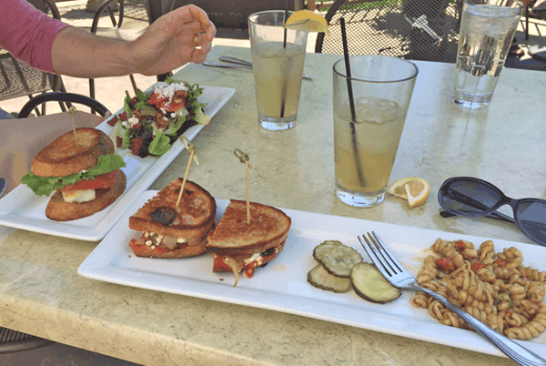 Delicious sandwiches and salads on a shady patio at Palette Bistro in Petoskey.