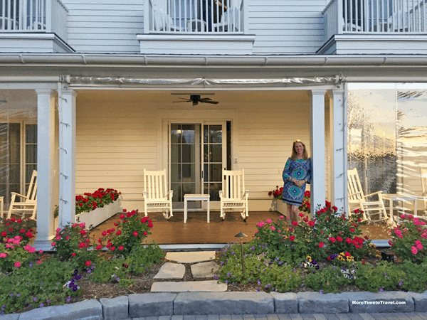 Me on our patio before dinner at Walloon Lake Inn. Note the vinyl screen on the patio next to ours (we had them roll ours up).