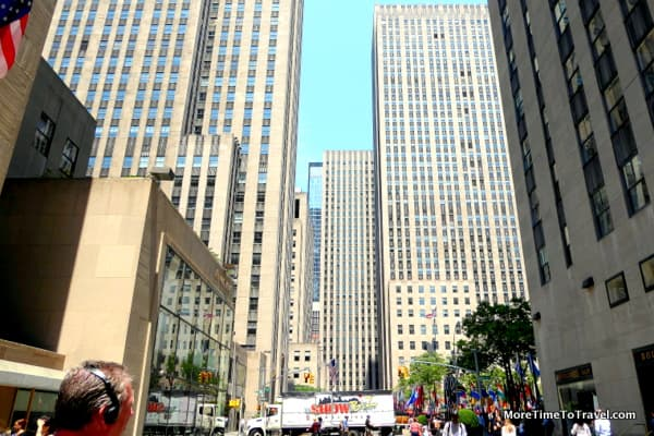 View of Rockefeller Center from 50th Street, looking West