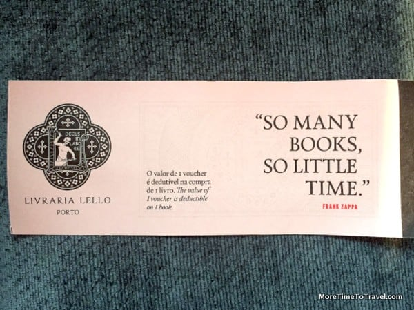 Coveted entry ticket to Livraria Lello
