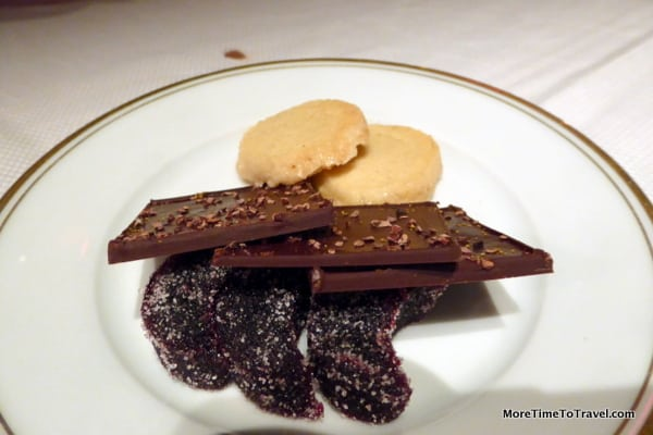 An after dinner surprise from the chef: Ginger cookies, chocolate with orange peels and cassis bonbons