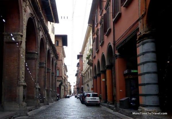 Rainy day on a street in Bologna, Italy