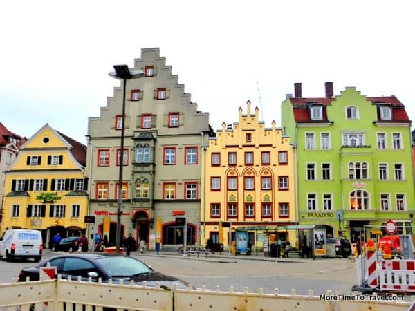 Charming street in Regensburg, Germany