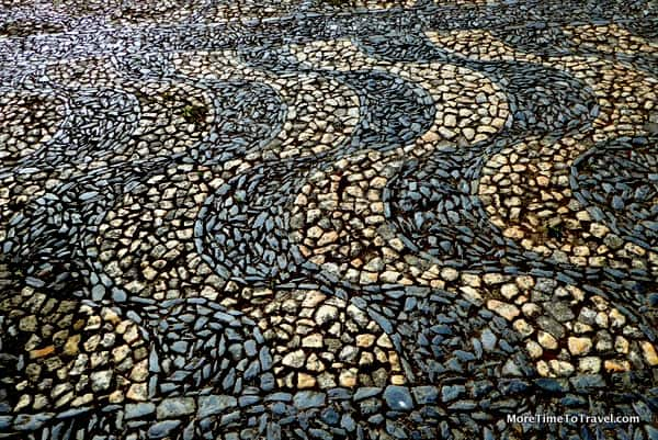 Another perilous cobblestone street in Lisbon, Portugal