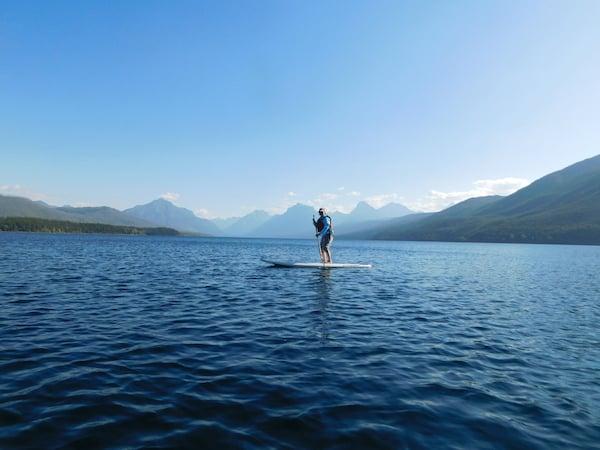 Nancy paddleboarding at Glacier National Park