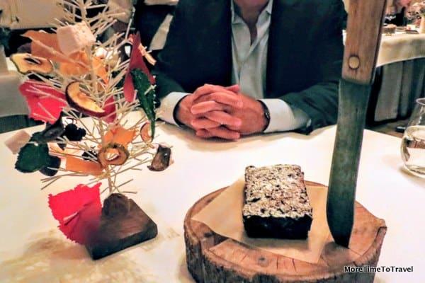 A dessert tree and holiday fruitcake