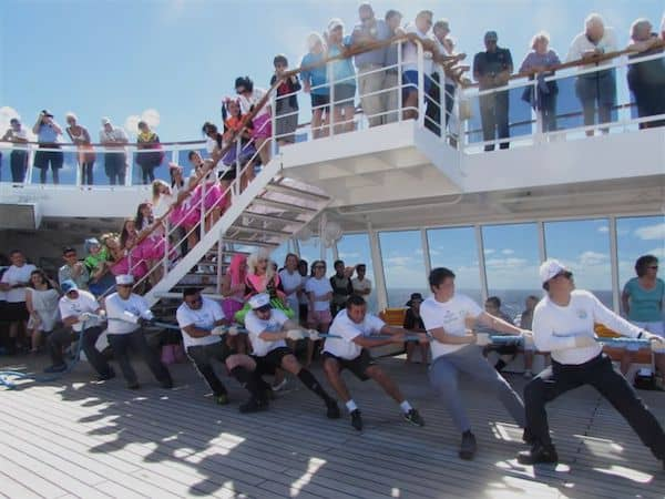 Fun at sea: Crew tug-of-war