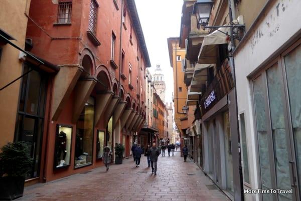 Via d'Azeglio in Bologna during the day