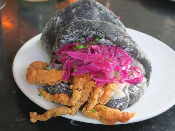 Soft shell crab with a black bun at Blanca