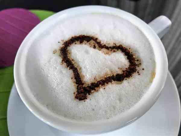 Cappuccino at breakfast at 8 Piu Hotel