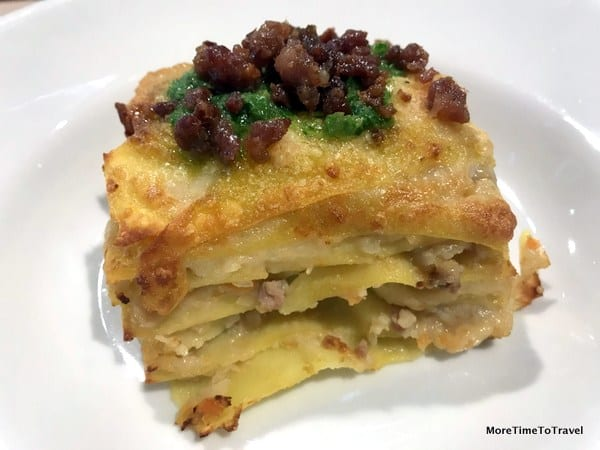 Lasagna with Celeriac Ragu at Michelin-starred Amerigo 1934 at FICO