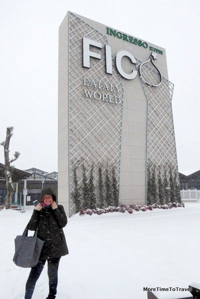 Arriving at FICO Eataly World on a Snowy Day