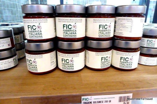 Fresh, organic sauce display at FICO