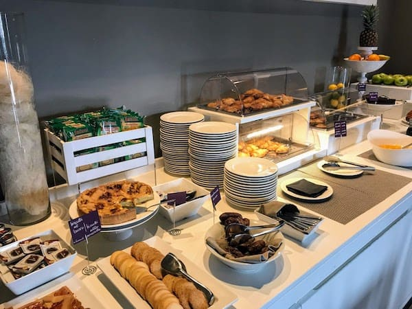 One section of the extensive breakfast buffet