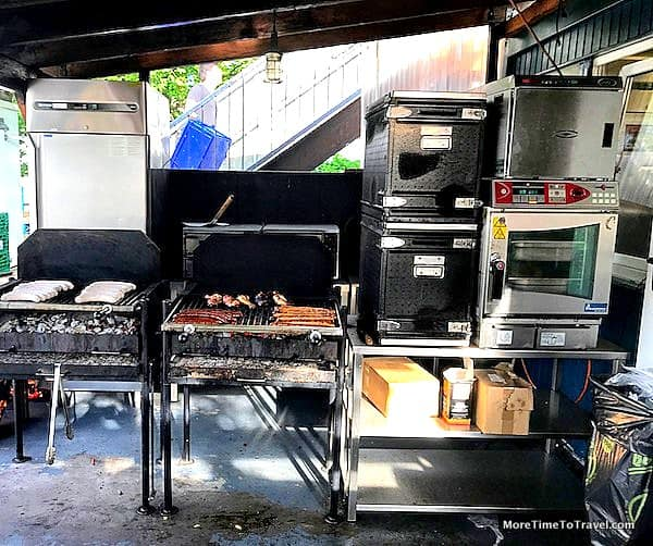 Most of the cooking takes place at this grill