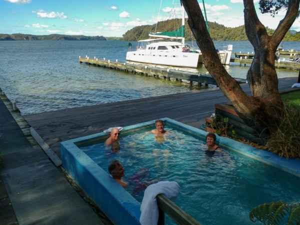 Relaxing at Lake Rotoiti hot pools