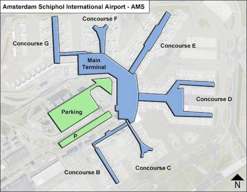Layout of gates at Schiphol Airport in Amsterdam