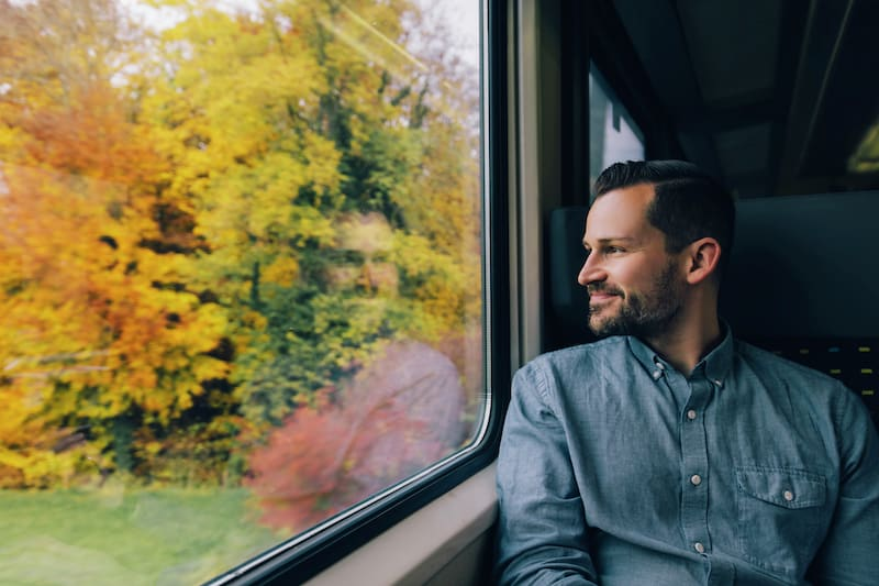 Soaking in the views on the train