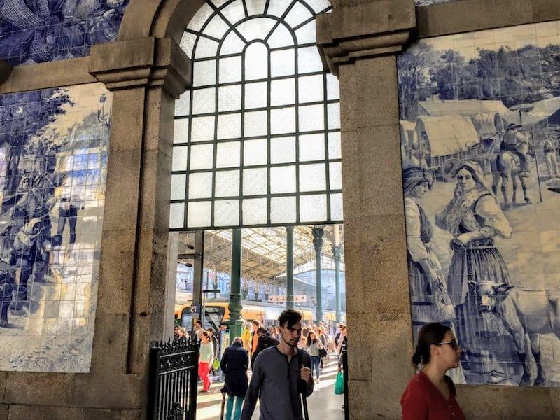 Tile walls at the Sao Bento railway station in Porto