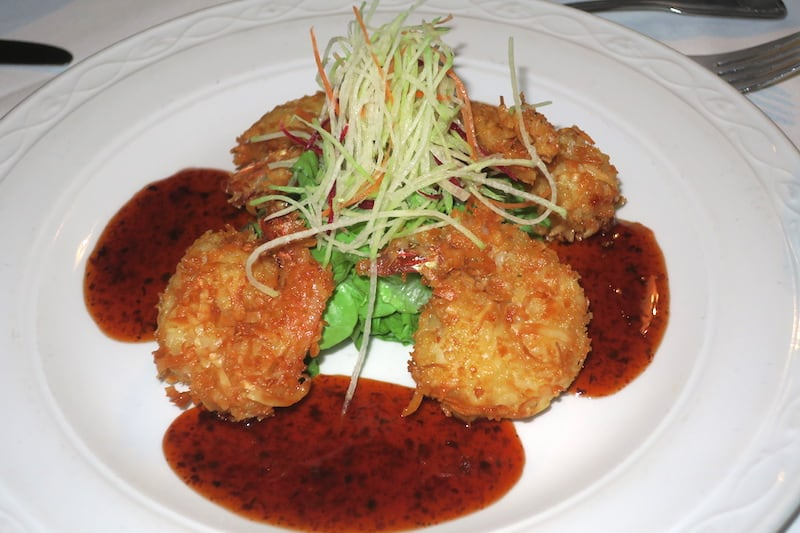 Where to Eat in Barbados -Coconut shrimp with chili sauce at Champers in Barbados