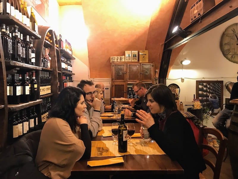 A cozy upstairs table at La Baita in Bologna