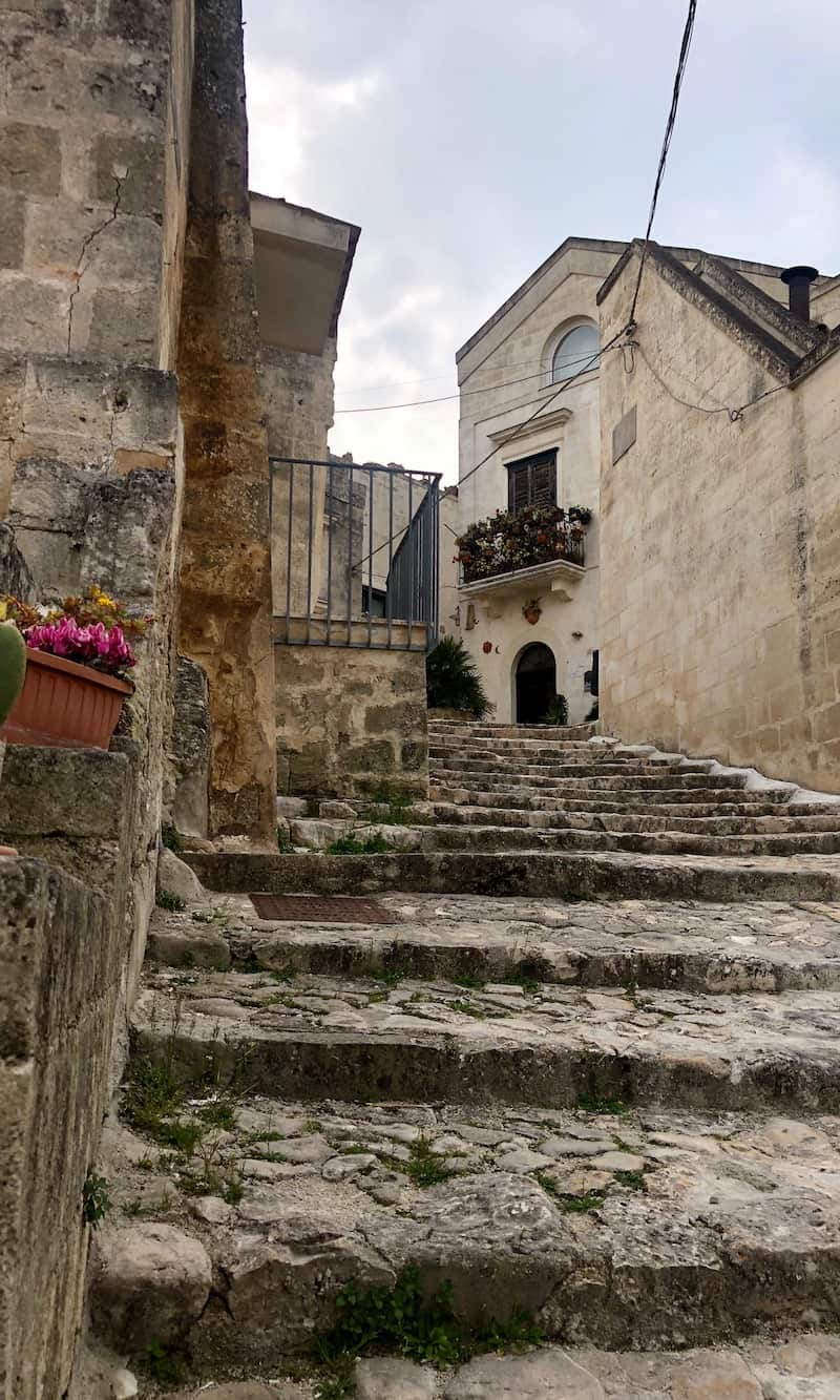 One of the many stone staircases in Matera