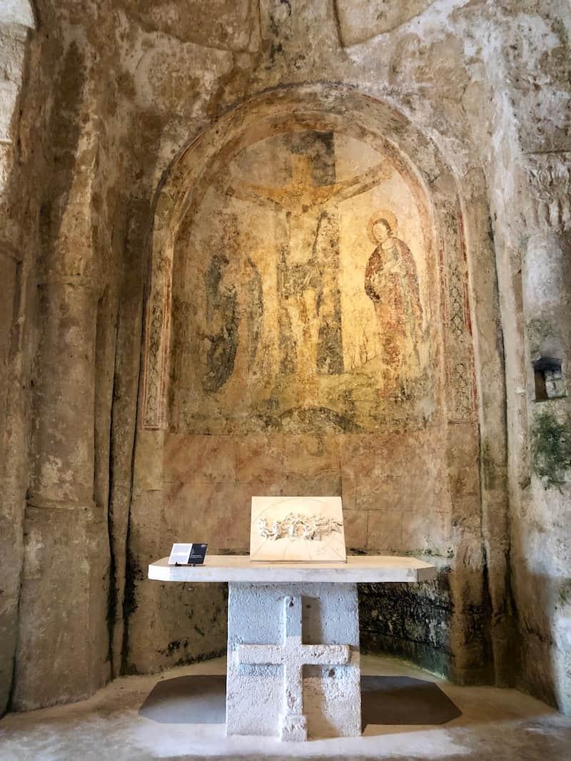 An ancient fresco dating back to the 11th century at Madonna dell virtu e San Dei Greci