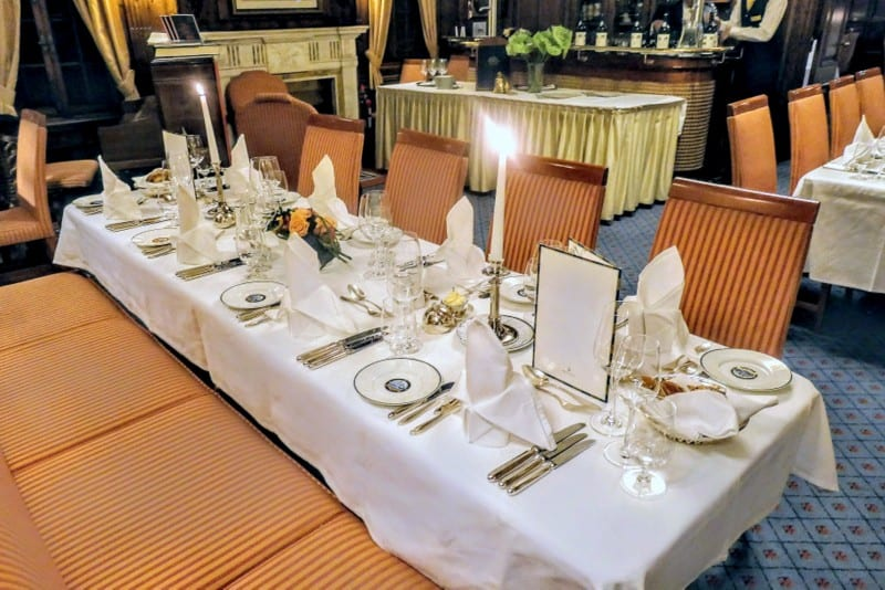 Table setting at dinner sailing on Sea Cloud