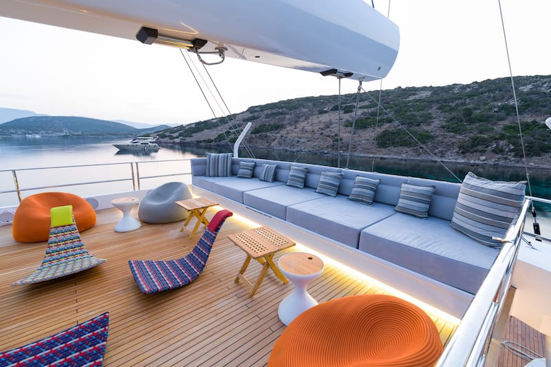Gulets offer Comfortable seating on the deck to watch the passing scenery
