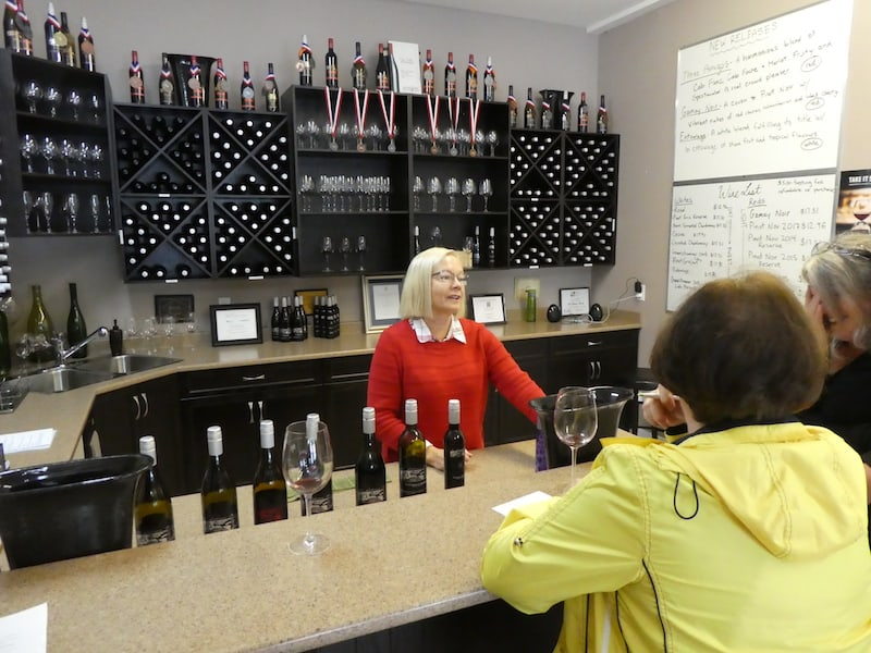 In the Fraser Valley wine region in British Columbia: The tasting room at Mt. Lehman