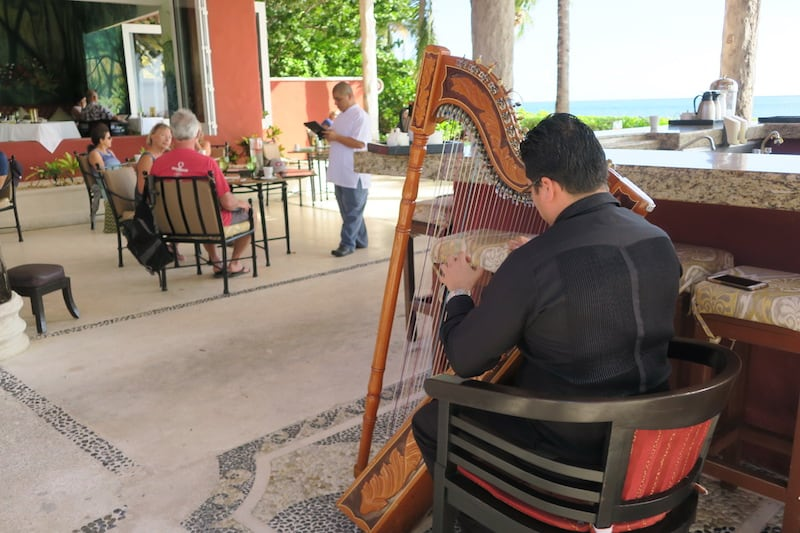 Not a typical all-inclusive: Harp music at breakfast