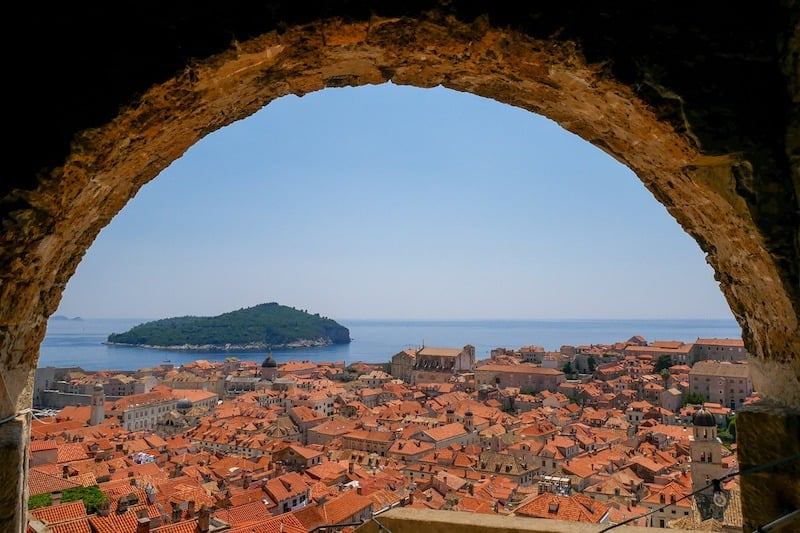 View of rooftops in Dubrovnik, Croatia