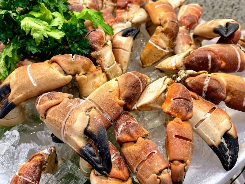 At lunch at The Haven Restaurant: Crab claws from a seafood buffet