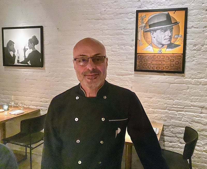 Chef Alfred Portale stops at our table