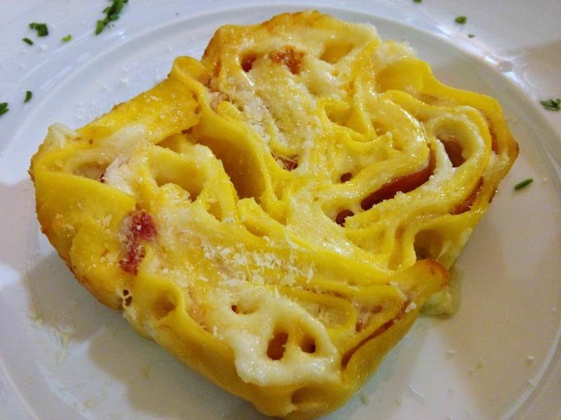 Best Meals: Rosette - rolled egg pasta in the shape of a rose with bechamel sauce and ham
