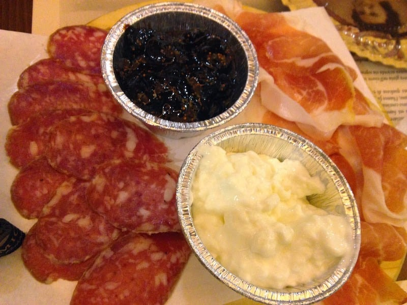 Another platter with meats and cheeses